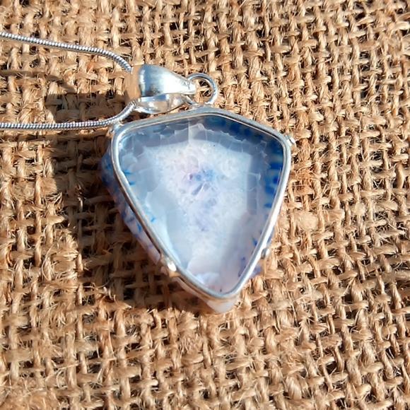 Blue Druzy Agate Necklace Bracelet Combo